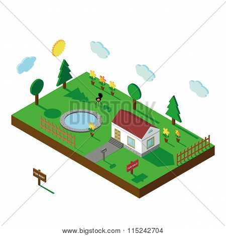 Isometric house.3D Village landscape.Isolated  Yard