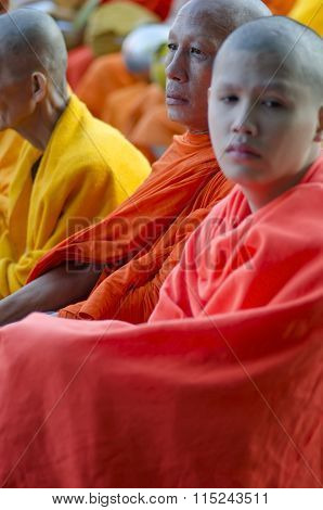Monks At Alms Ceremony
