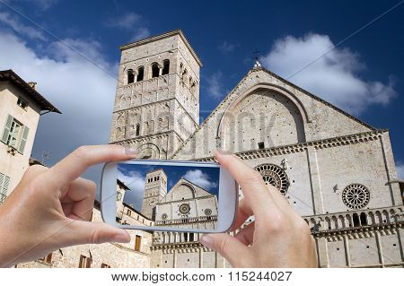 Taking Pictures By Smart Phone In Assisi (italy)