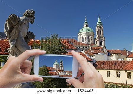 Taking Pictures By Smart Phone In Prague