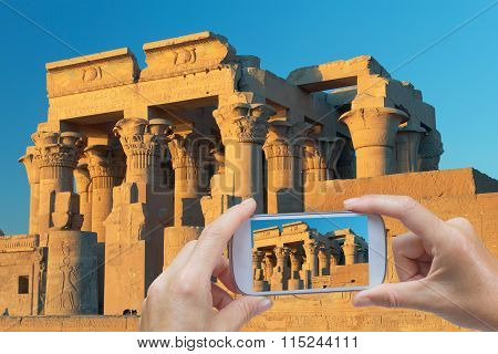 Taking Pictures By Smart Phone In Kom Ombo Temple