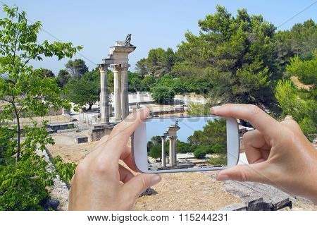Taking Pictures By Smart Phone In Glanum