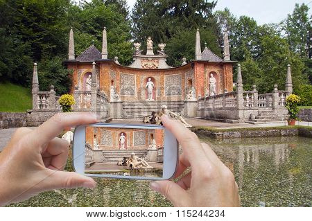 Taking Pictures By Smart Phone In Hellbrunn