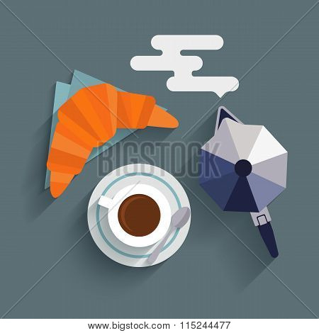 Flat cup of coffee, croissant and coffee maker.