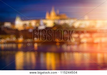 Blurred background bokeh - Pargue at dusk, Charles Bridge