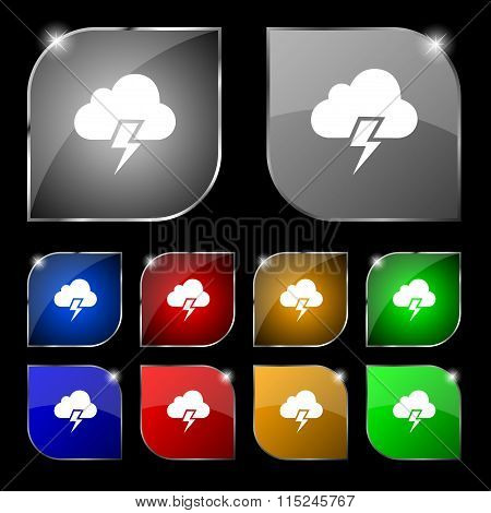 Heavy Thunderstorm Icon Sign. Set Of Ten Colorful Buttons With Glare.