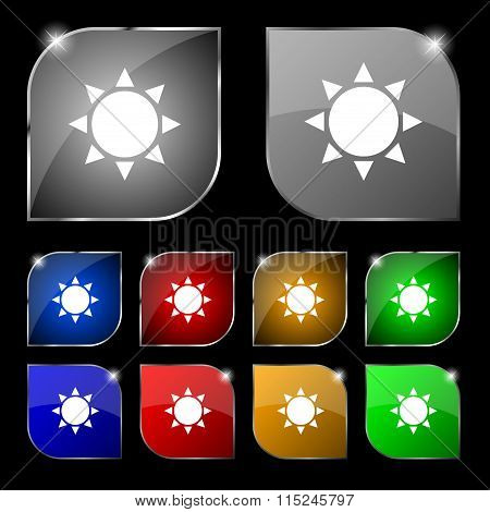 Sun Icon Sign. Set Of Ten Colorful Buttons With Glare.