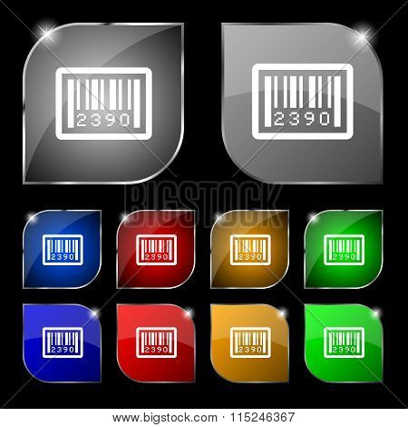 Barcode Icon Sign. Set Of Ten Colorful Buttons With Glare.