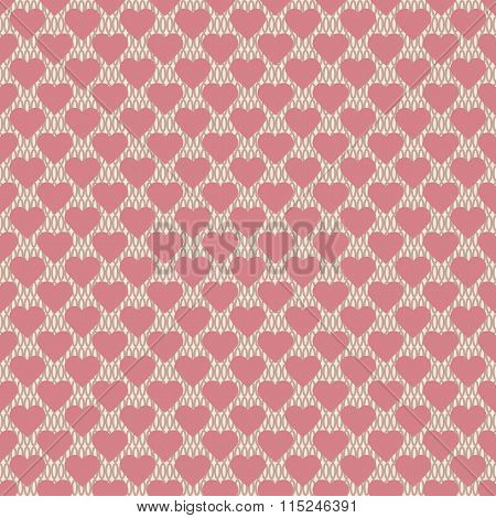 Seamless Hearts Pattern Retro Texture, Hearts Background, Valentines Day Print