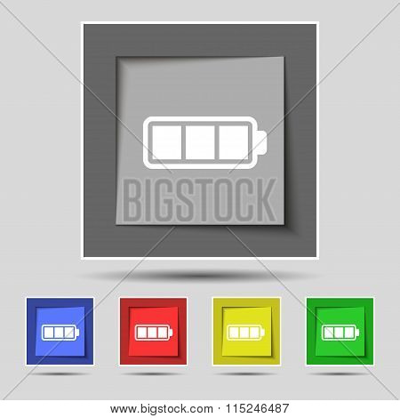 Battery Fully Charged Icon Sign On Original Five Colored Buttons.