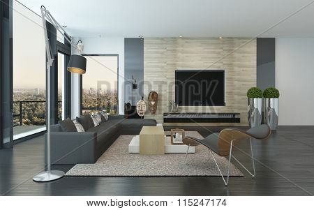 Comfortable spacious modern living room interior with large view windows with a view of the city and an outdoor patio and a comfortable lounge suite and chairs indoors. 3d Rendering.