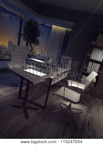 Darkened empty luxury home office interior at night with a high angle view of the desk and chairs backed by a view over the city. 3d rendering