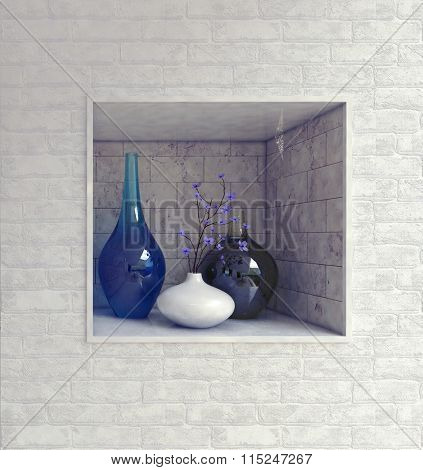 Rectangular wall recess with hand blown blue glassware and ceramics in a textured white brick wall in a luxury house interior. 3d Rendering.
