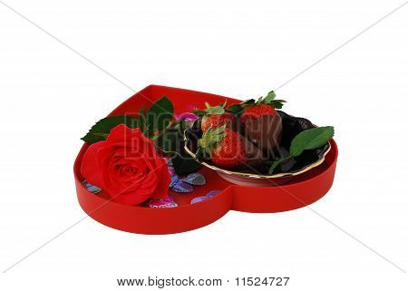 Strawberries In Chocolate On Red Heart Shaped Tray