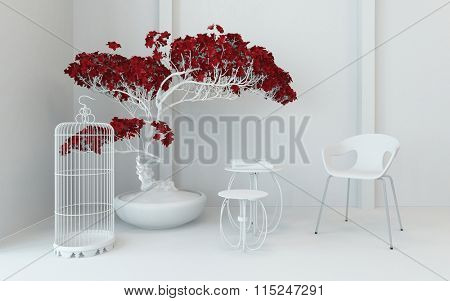 Artistic contemporary interior decor in a monochromatic white living room corner with red potted plant, an empty wire birdcage, nest of tables and modular chair. 3d Rendering.
