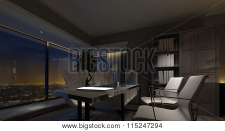 Spacious luxury home office interior at night with dim lighting highlighting the table and chairs and a view window overlooking city lights. 3d rendering