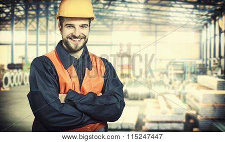 Smiling Worker In Protective Uniform