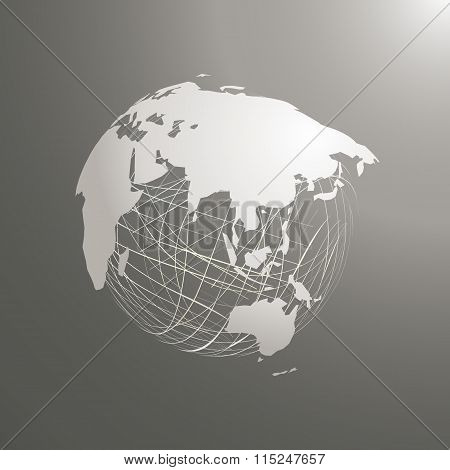 Abstract World Map Sphere Asia Vector