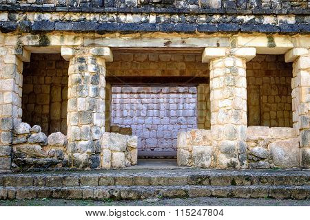 Detail Of Ancient Mayan Stone Wall Ruins