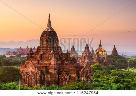 Bagan, Myanmar temples in the Archeological Park at dusk.