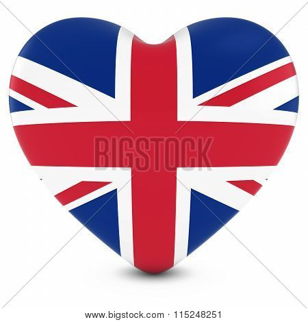 Love Britain Concept Image - Heart Textured With Uk Flag