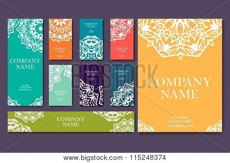 Set Of Business Cards. Vintage Pattern In Retro Style With Mandala. Hand Drawn Islam, Arabic, Indian