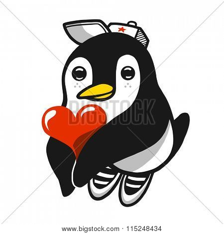 Comic penguin character holding heart in his hands. Vector illustration.