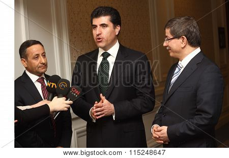 Nechervan Barzani and Turkish Prime Minister Ahmet Davutoglu