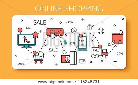 Online shopping  outline concept of purchasing process in online store.