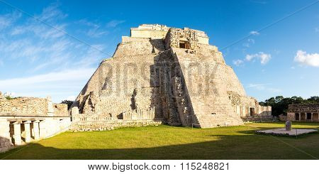 Panoramic View Of Prehistoric Mayan Pyramid In Uxmal