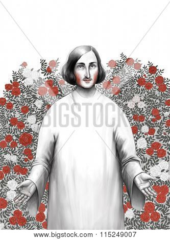 The illustration of Gogol the writer standing in rosarium wearing a white toga