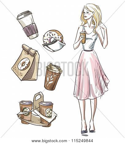 Girl Having A Snack. Donuts And Coffee. Take Away.