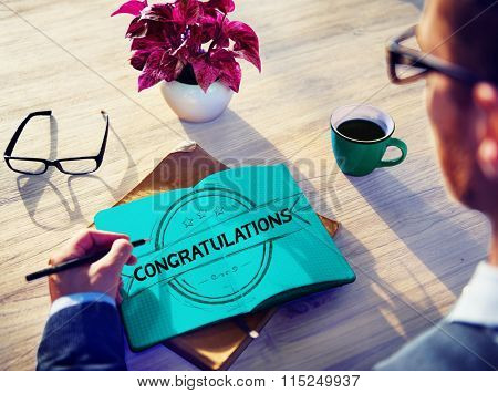 Congratulations Celebration Admiration Man Writing Concept