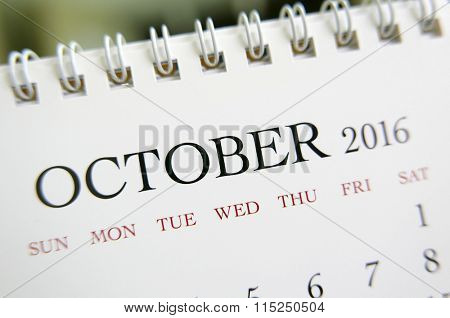 Close up calendar of October 2016