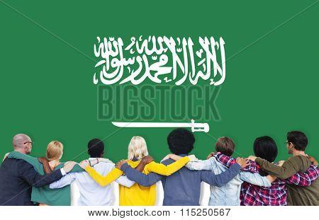 Saudi Arabia National Flag Teamwork Diversity Concept