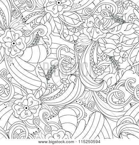 Hand Drawn Doodle Pattern In Vector. Zentangle Background. Seamless Abstract Texture. Ethnic Doodle
