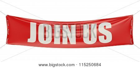 Join Us Concept On The Red Banner