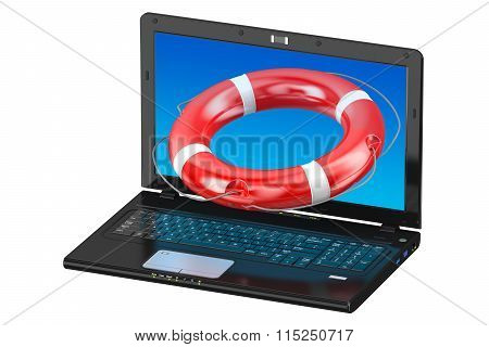 Laptop And Lifebuoy