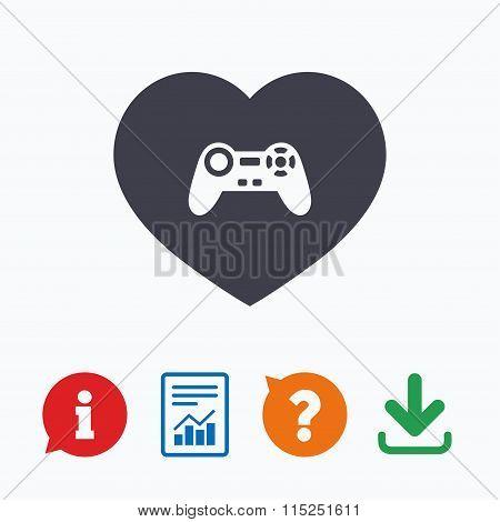Joystick sign icon. Like Video game symbol.
