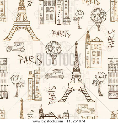 Vector Vintage Brown Paris Streets Travel Seamless Pattern with Eifel Tower, houses, trees and vinta
