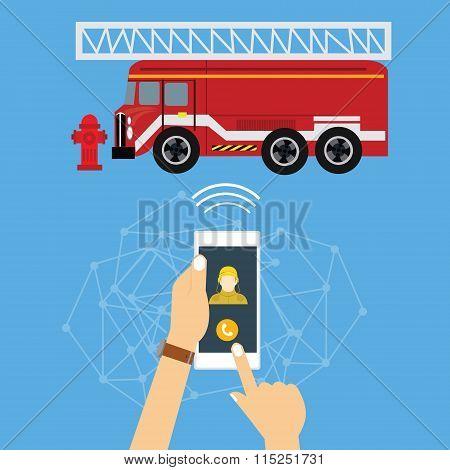 emergency mobile phone call fire truck fireman