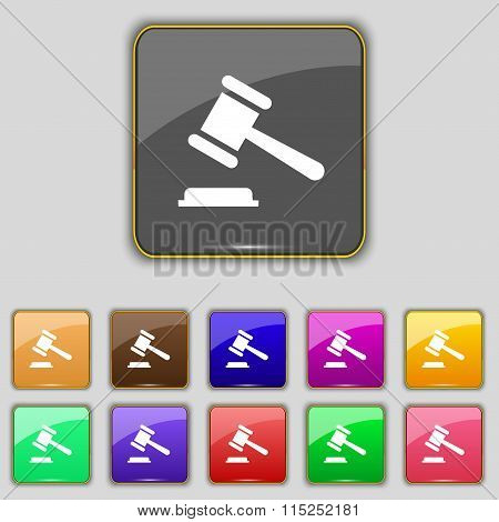Judge Or Auction Hammer Icon Sign. Set With Eleven Colored Buttons For Your Site.