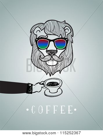 Hipster lion with coffee cup vector illustration, all elements separated.