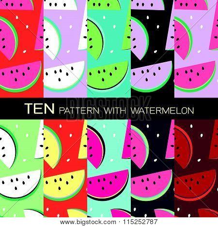 Pattern Background Design With Watermelon