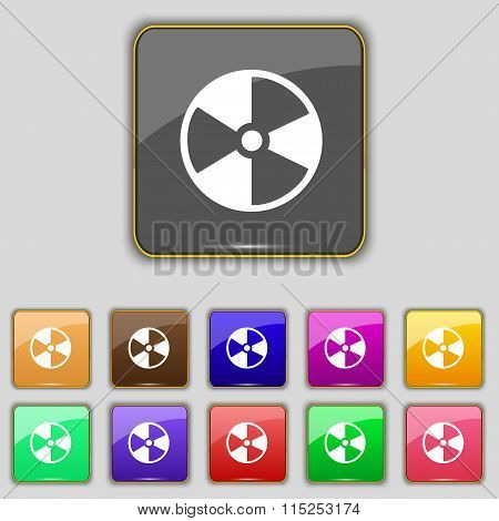 Radioactive Icon Sign. Set With Eleven Colored Buttons For Your Site.
