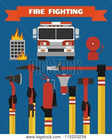 Fire fighting design concept flat illustration