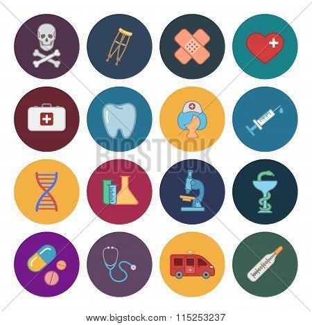 sixteen flat medicine icons
