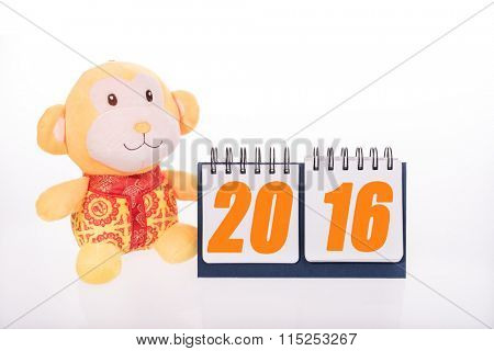 chinese monkey toy with 2016 calendar