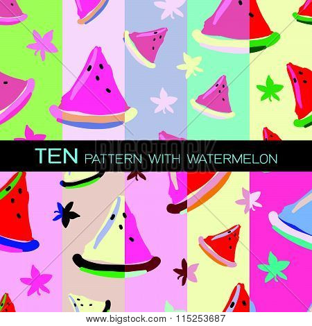 Ten Set Of Patterns With Watermelons