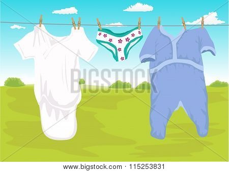 clothes drying outdoor in the garden